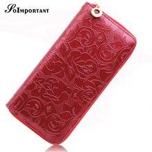Floral Print Wallet Female Leather Purses Women Wallets Rose Flowers Luxury Brand Zipper Long Wallet Card Holder Clutch Handy