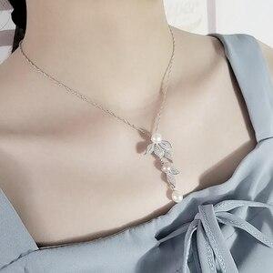 Image 4 - [MeiBaPJ] 성격 패션 자연 진주 꽃 세트 S925 실버 귀걸이 & 목걸이 여성을위한 훌륭한 보석 세트