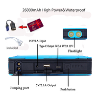 JKCOVER Jump Starter 26000mAh Car Starting Waterproof Batteries For Cars 12V Portable Starter Battery Best Quality