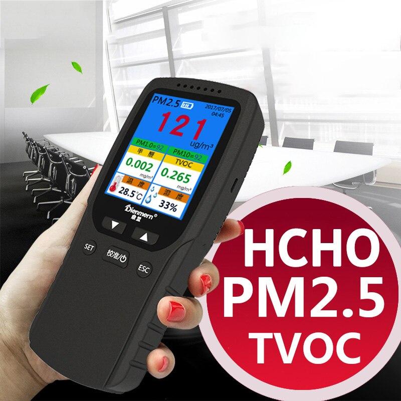 Analizzatore di Gas formaldeide HCHO PM1.0 PM2.5 PM10 TVOC Tester di umidità di Temperatura Termometro Igrometro Monitor Rilevatore di Gas