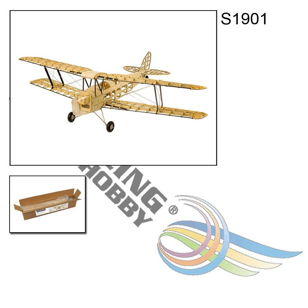 Wood RC Airplane Dancing Wings Hobby S1901 Balsa Tiger Moth Remote Control Biplane Unassembled KIT Version DIY Flying Model 4