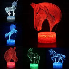 Color Changeable Horse Profile LED 3D Visual Illusion Night Light Creative Table Decoration Light Novelty Lamp Abajur Kids Gift creative 7 color horse head lamp 3d visual led night lights for kids touch usb table lampe baby sleeping night light