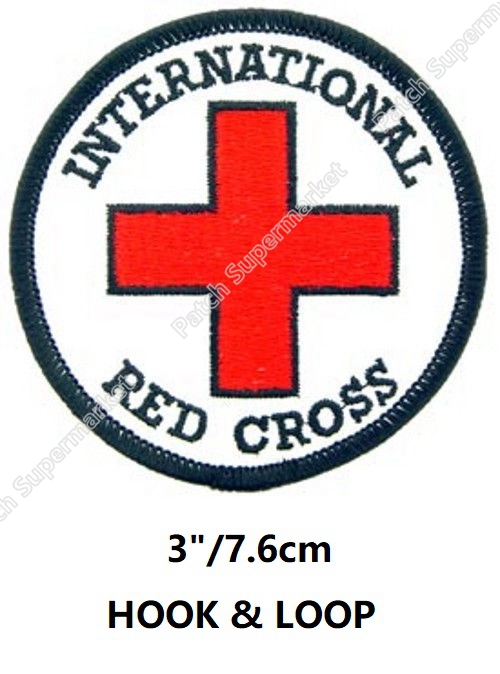 3 International Red Cross Hook And Loop Patches Emt Army Tactical