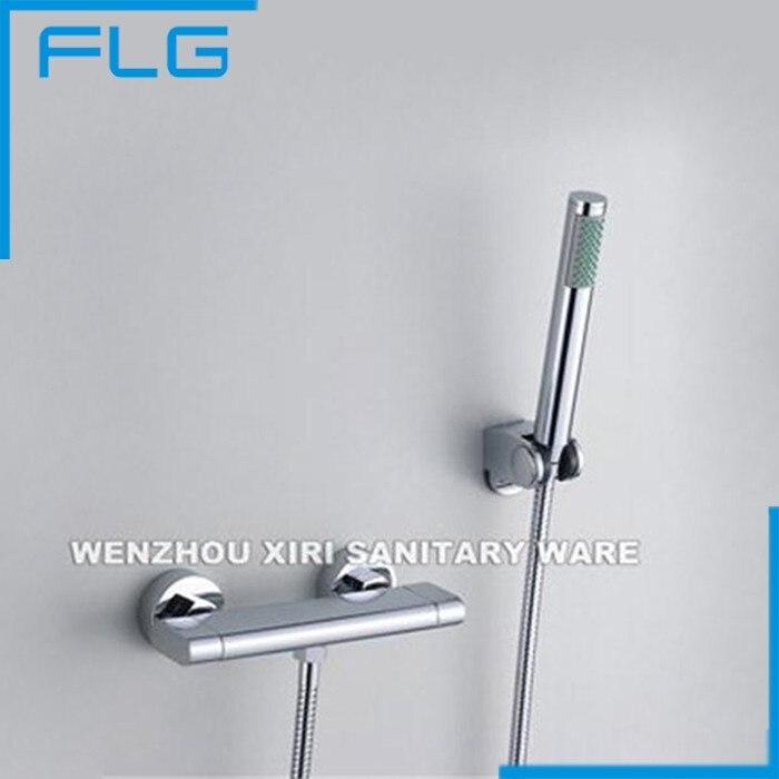 FLG Double Handle Shower Faucet Brass Chrome Finishing Bathtub Copper Shower Mixer Tap sognare new wall mounted bathroom bath shower faucet with handheld shower head chrome finish shower faucet set mixer tap d5205