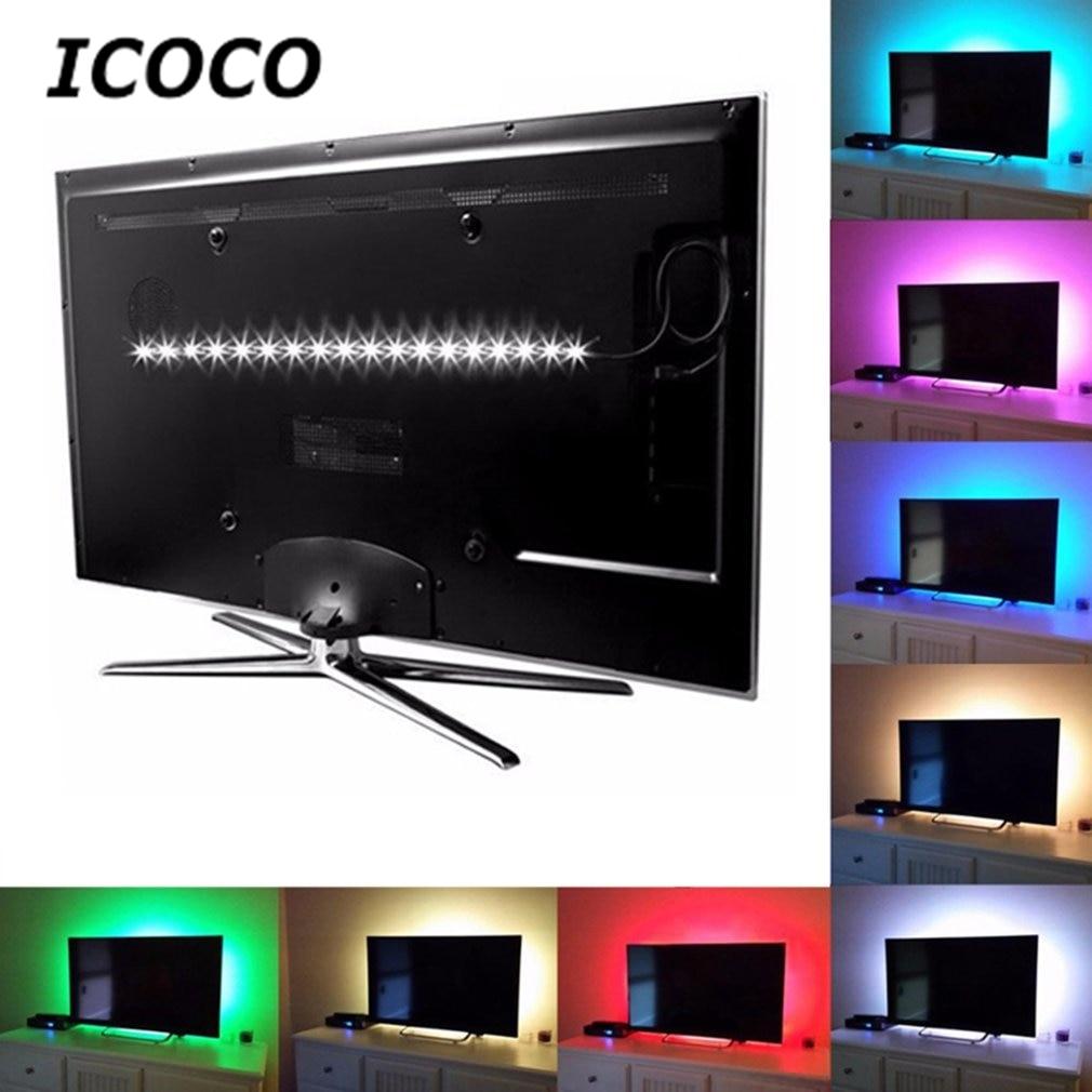 LED strip USB 24key RGB light 1M 2M Tape no Waterproof DC 5V 5050 SMD TV LCD Background Lighting String with IR Controller 2018
