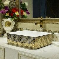 Бесплатная доставка керамическая миска умывальник прямоугольный художественный керамический умывальник бытовой золотой мозаичный, керам