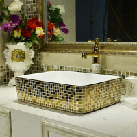 Free shipping Ceramic Basin bowl Rectangular Art Ceramic Washbasin Household Golden Mosaic ceramic wash basin bathroom sink