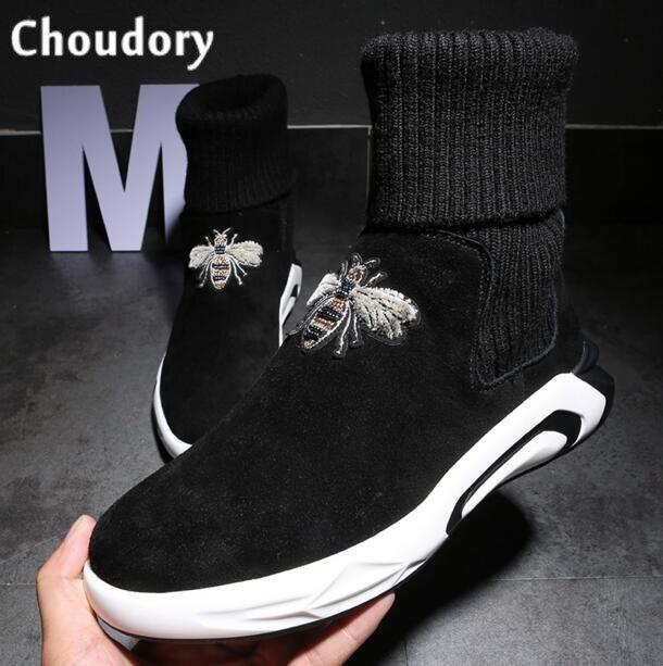 ce1d19c6956 Invierno plataforma Zapatos 2018 elástico Cordones Botines superiores altos  masculinos nieve caliente plana botines italiano mocasines en Botas básicas  de ...