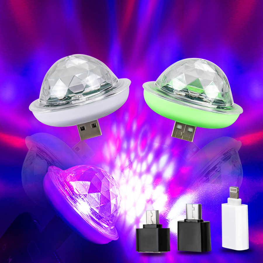Mini USB Flowing LED Running Stage Light Effect Crystal Magic Disco Ball 4W RGB Strobe Light Disco DJ Karaoke Home Party Lights