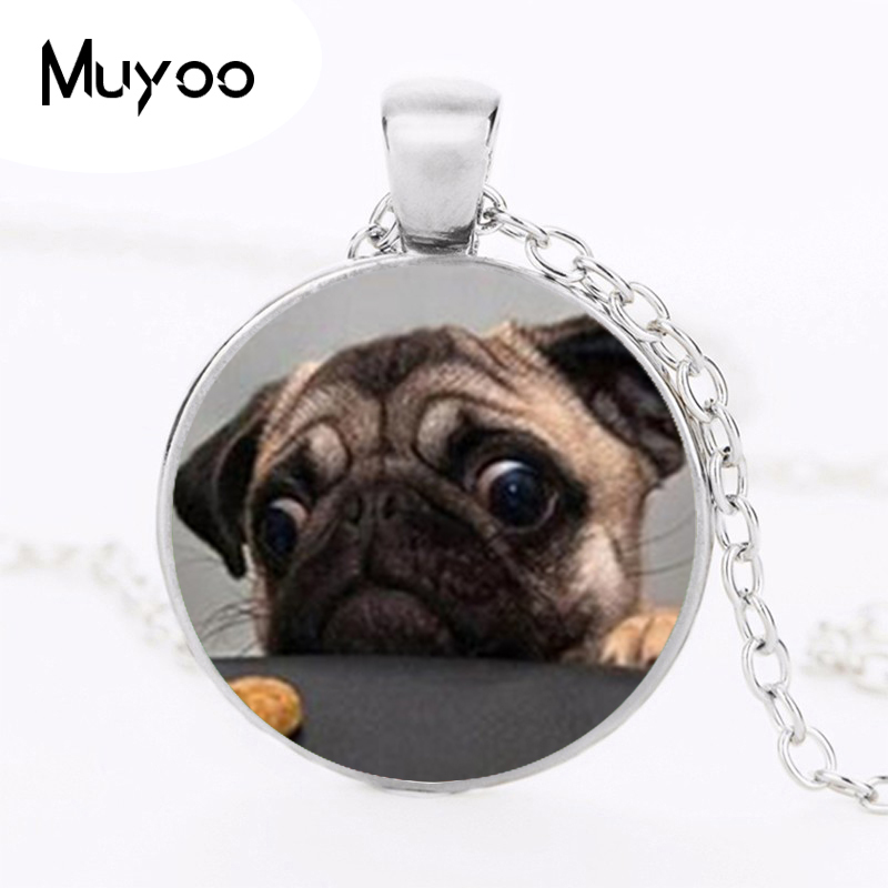 Wholesale Glass Dome Round Pendant Animals Jewelry Pug Necklaces Pendants Dog Picture Necklace The Best Gift