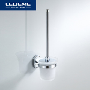 Image 2 - LEDEME Toilet Brush Holders Stainless Steel Wall Mounted Durable Type WC Brush Holder With Glass Cup Holder Classic Chrome L1910