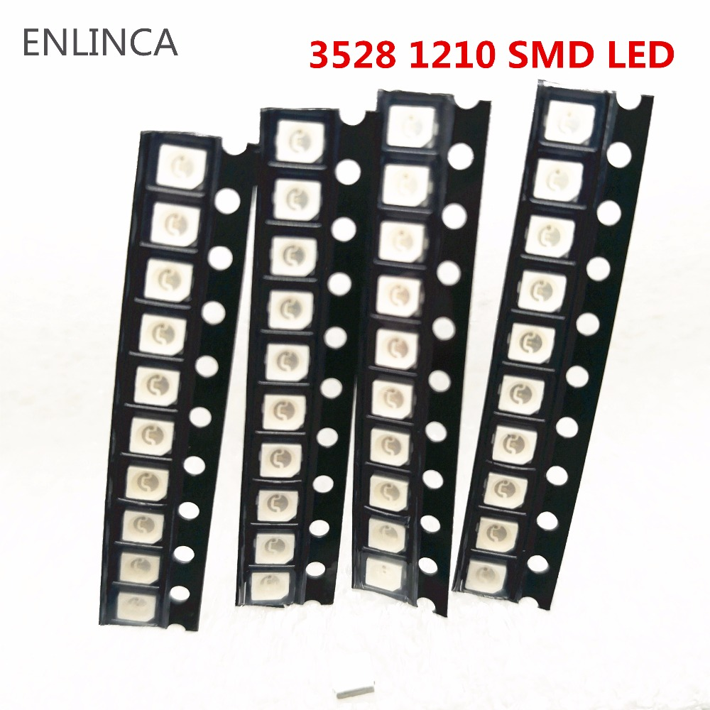 100pcs Original Super Bright 3528 1210 SMD LED Red Green Blue Yellow White Warm White LED Diode 3.5*2.8*1.9mm