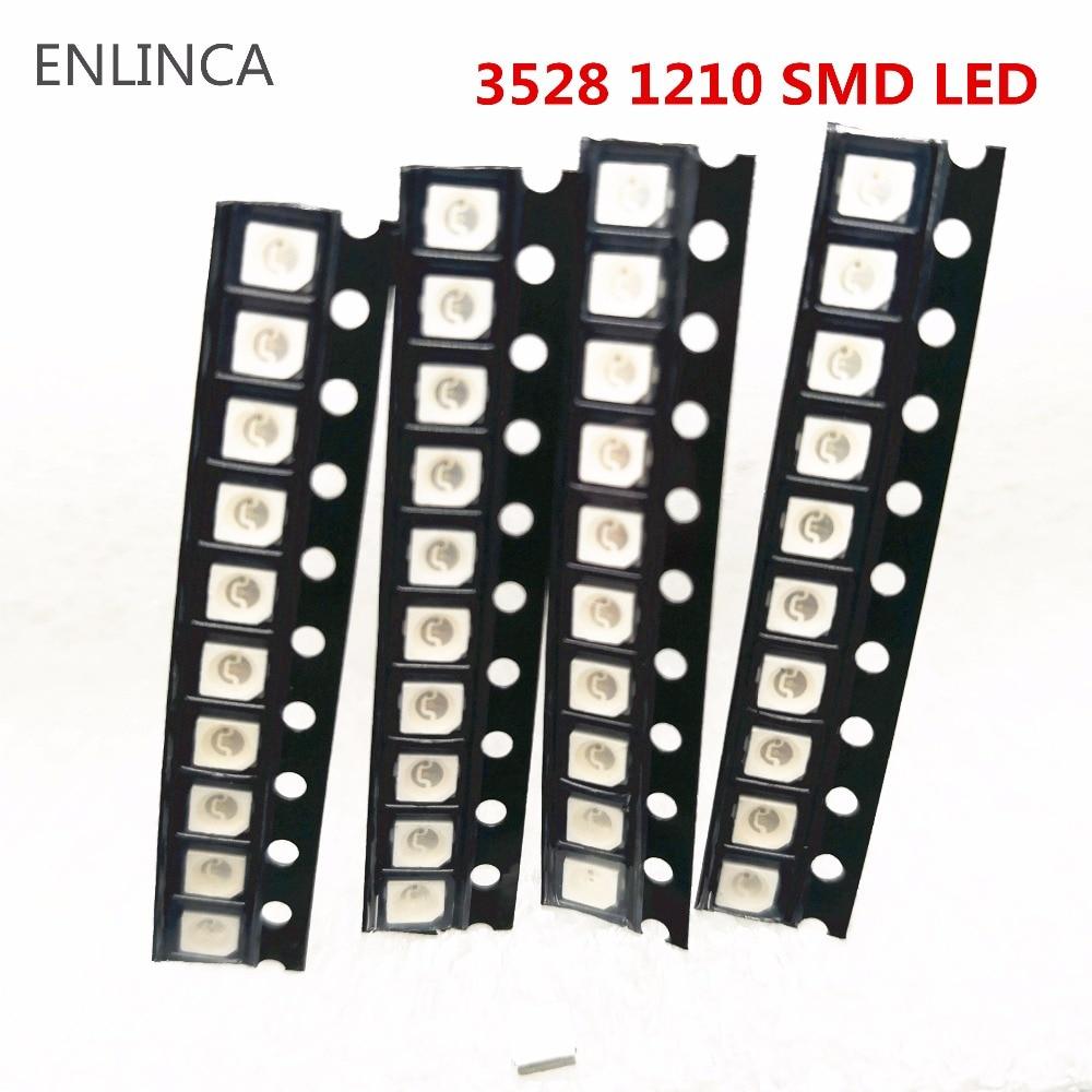 Оригинальный супер яркий светодиодный диод 3528 1210 SMD, 100 шт., красный, зеленый, синий, желтый, белый, светодиодный, 3,5*2,8*1,9 мм