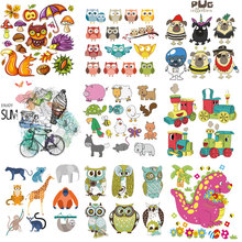 DIY Heat Transfer Patches Cute Animals Set Iron-on For Clothing Children T-shirt Decoration Press Appliqued Sticker