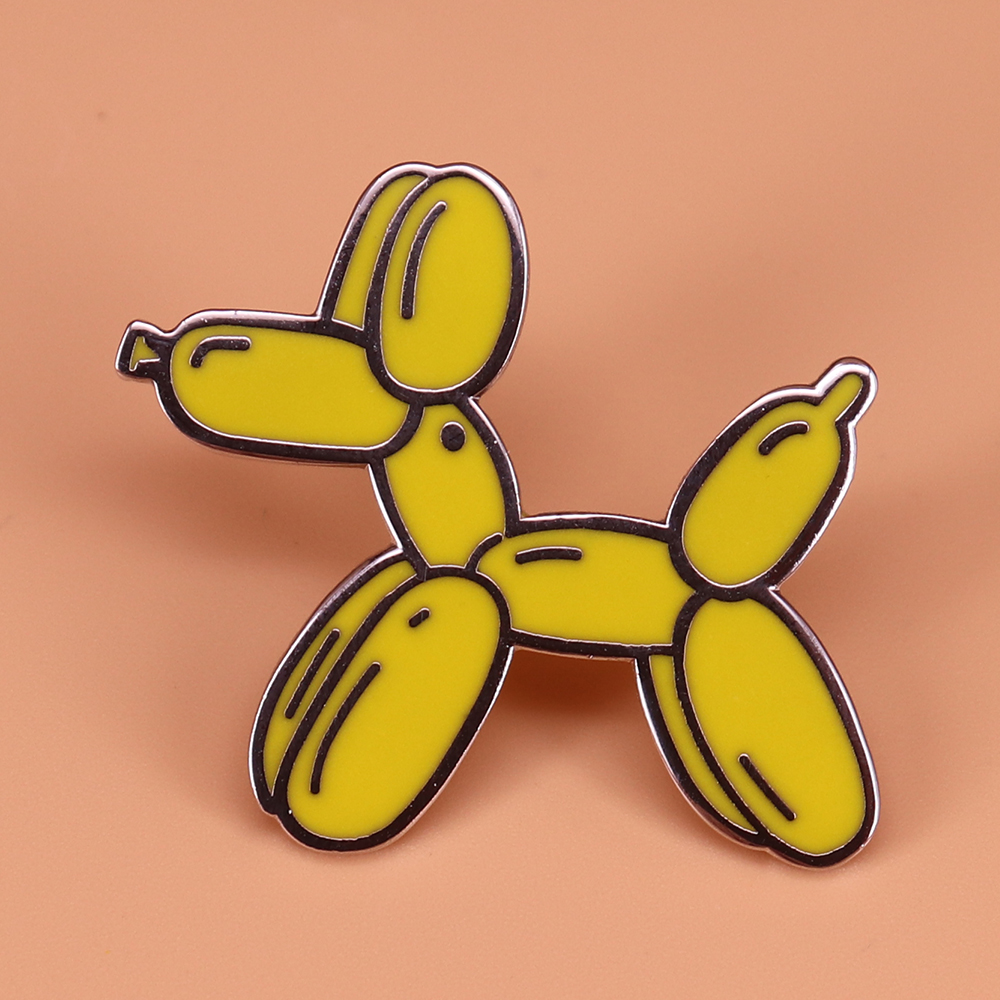 Funny Yellow Balloon Dog Pin Broken Joint Art Brooch Saucy Pins Cute Animal Badge Dog Lover's Gift Women Shirts Jacket Accessory