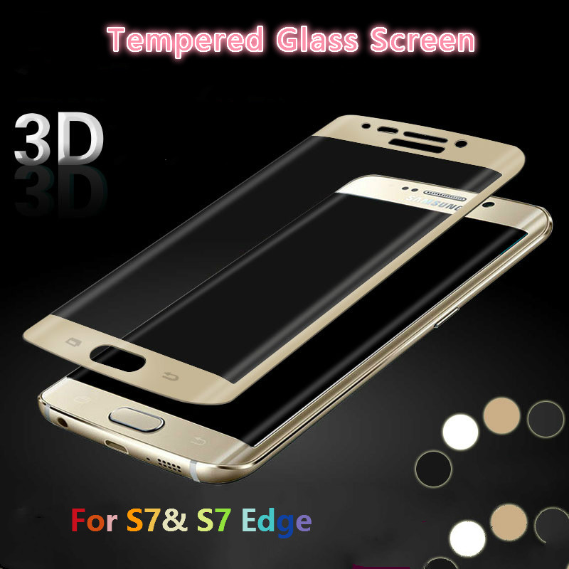 2016 New For Samsung Galaxy S7&S7 Edge <font><b>ARC</b></font> <font><b>screen</b></font> <font><b>tempered</b></font> <font><b>glass</b></font> 3D Curved <font><b>Cover</b></font> <font><b>Full</b></font> Coverage Anti Scratch protector film