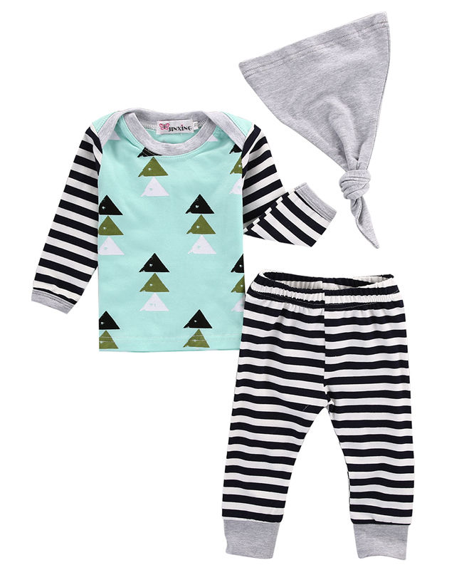 3PCS New Casual Newborn Baby Boys Girls Striped Long Sleeve T-shirt+Pants+Hat Outfits Clothes Set