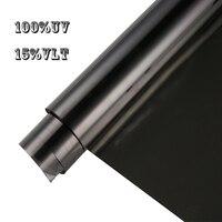 15%VLT 100%UV Black Nano Ceramic Car Side Window Rear Windshield Solar Film Tint UV Proof Sunshade Vinyl