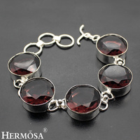 Hermosa Jewelry Huge Unique Circular Rose red 925 Sterling Silver Bracelets 8 inch Adjustable size