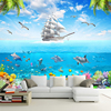 Custom Photo Wallpaper Sailing Dolphin 3D Underwater World Cartoon Picture Living Room Children Bedroom Decoration Wall Mural 3