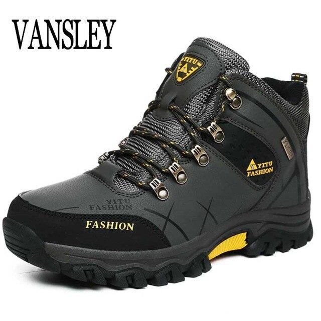 Erkek Botları Boyutu 39-47 Tasarımcı Erkek Ayakkabı Kışlık Botlar Su Geçirmez Erkek Kar Botları Lace Up Erkekler yarım çizmeler Sıcak kış Ayakkabı Erkek