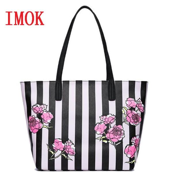 Hot Love pink girl travel duffel bag women Travel Business Handbags beach  rose Flower stripe shoulder bag large capacity bags 134c07f6e7