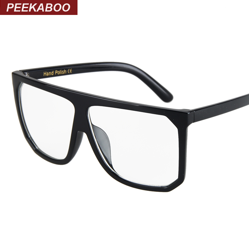 cfd5f49a293 Peekaboo Newest cheap black big square glasses frames women men unisex flat  top simple oversized eyeglass