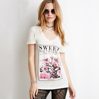 SWEET NOTHINGS Letters Print Women Tshirt Sexy V Neck Casual Shirt For Lady White Top Tees