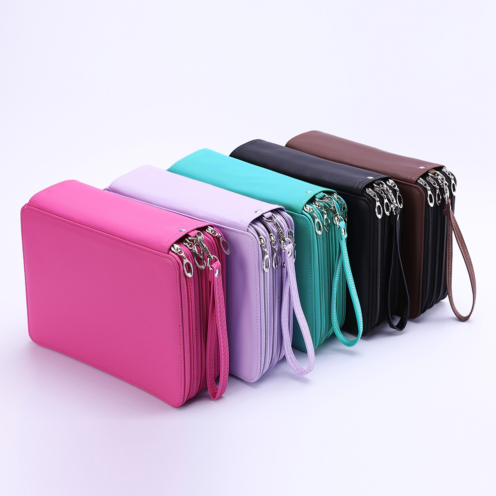 2019 new Multifunctional large capacity 184 hole pencil case High quality PU drawing sketch portable pencil pouch
