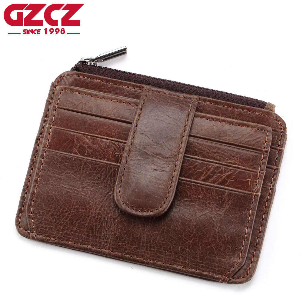 GZCZ Brand Genuine Leather Slim Men Credit Card Holder Design Card Organizer Male Wallets Purses Mini Walet Women Coin Purses