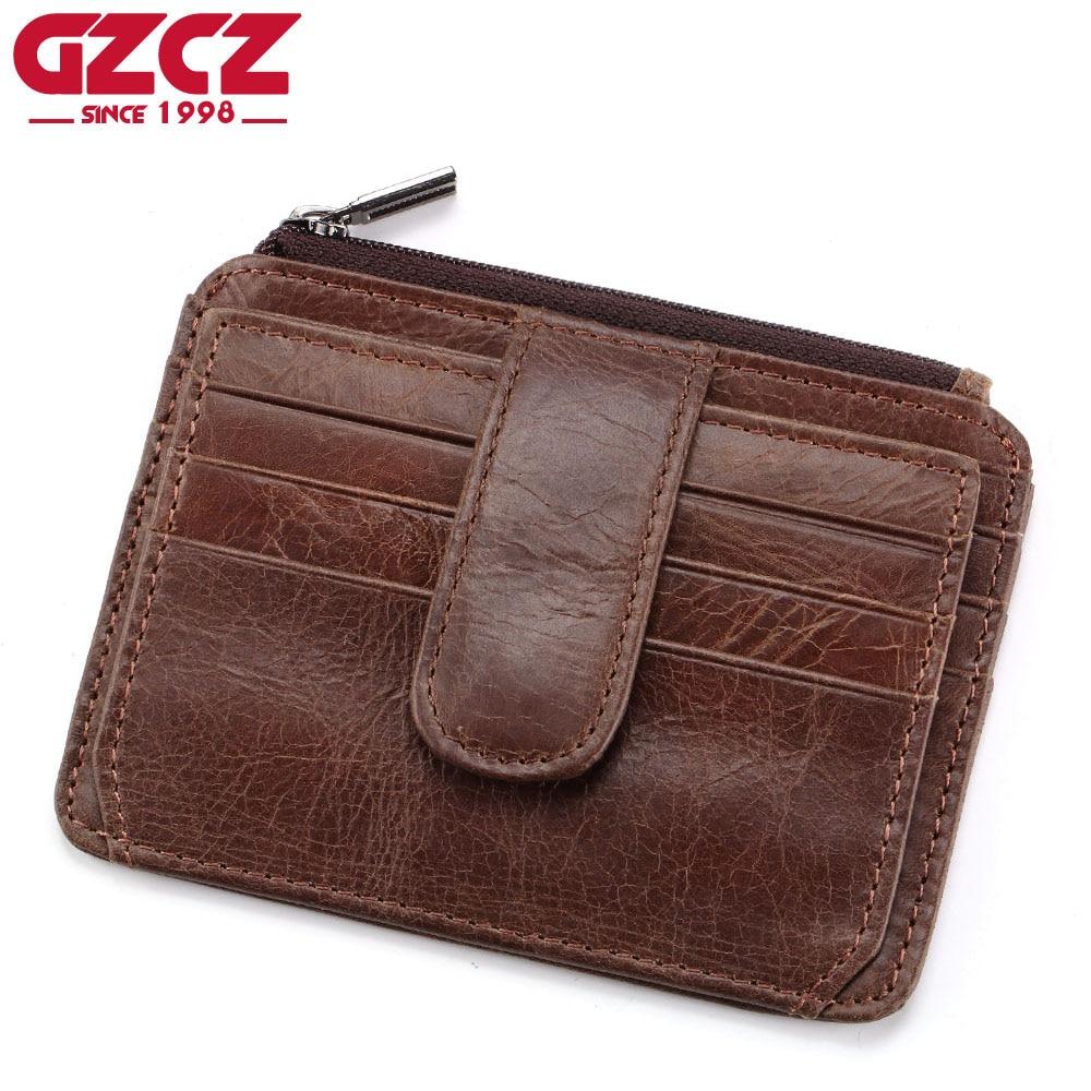 GZCZ Brand Genuine Leather Slim Men Credit Card Holder Design Card Organizer Male Wallets Purses Mini Walet Women Coin Purses