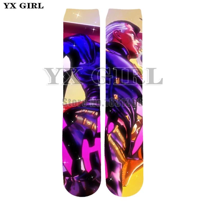 YX GIRL new 3D socks Anime JoJos Bizarre Adventure Funny 3D High Socks Men Women harajuku fashion thick socks Drop shipping