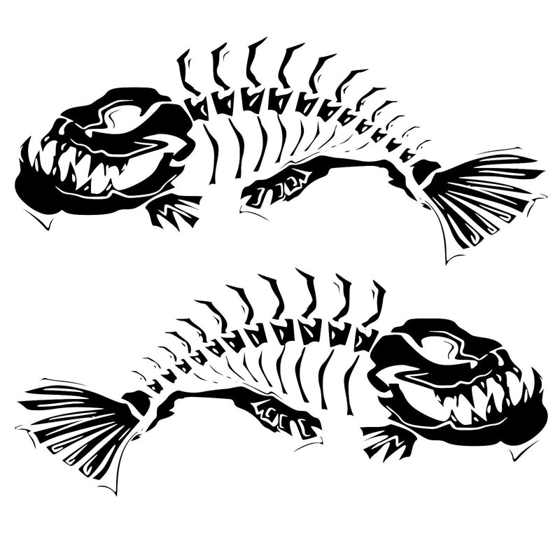 21.6*18.7CM 1Pair Skeleton Fish Door Decoration Decals Classic Stylish Car Styling Stickers Accessories C6-0619