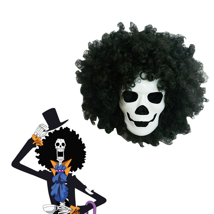 Anime ONE PIECE Dead Bones Brook Mask and Black Wig Cosplay Accessories Prop Cosplay Costume