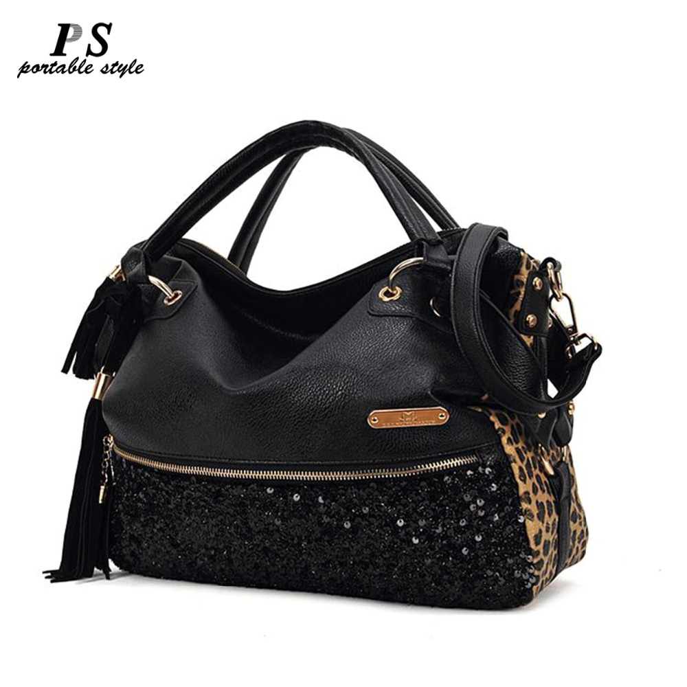 Women Leopard PU Leather Famous Brand Handbags European And American Style Shoulder Bags Sequins Tassel Crossbody Bag Bolsa Femi
