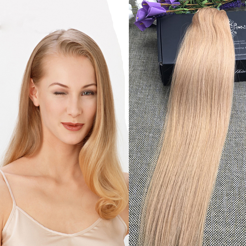 Full Shine Color 27 Honey Blonde One Piece Human Hair Clip Ins 100