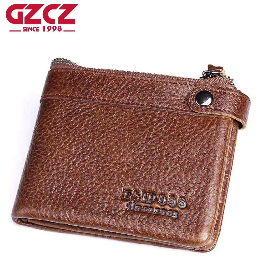 GZCZ Genuine Leather Men Wallet Casual Mini Walet Soft Purse with Photo Holder Card Luxury Brand Hasp Bull Male Money Bags gzcz famous luxury brand genuine leather men wallets with card holder casual men s leather walet case purse portfolio cartera