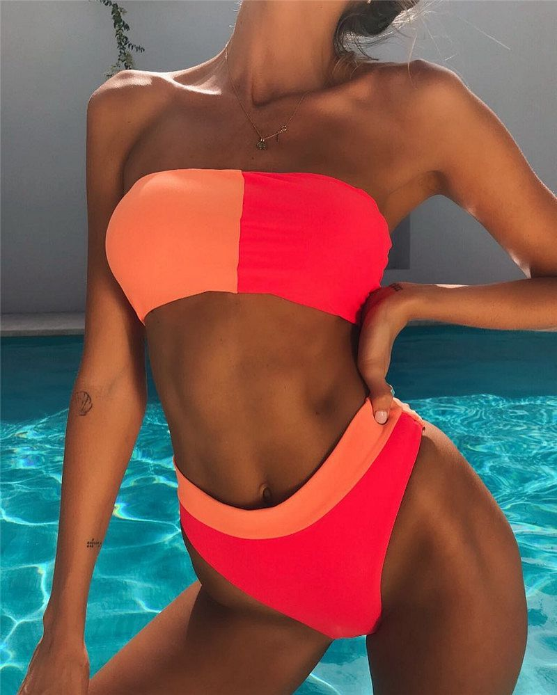 Phaixoneible 2019 New Swimwear Push Up Swimsuit High Waist Bikini Set Patchwork Bathing Suit Female Beachwear Lady Halter in Bikinis Set from Sports Entertainment