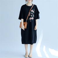 2019 New Oversize Embroidered Dress Plus Size Women Clothing Casual Dresses Black pink Long Tops Tees Shirt dress Tunics