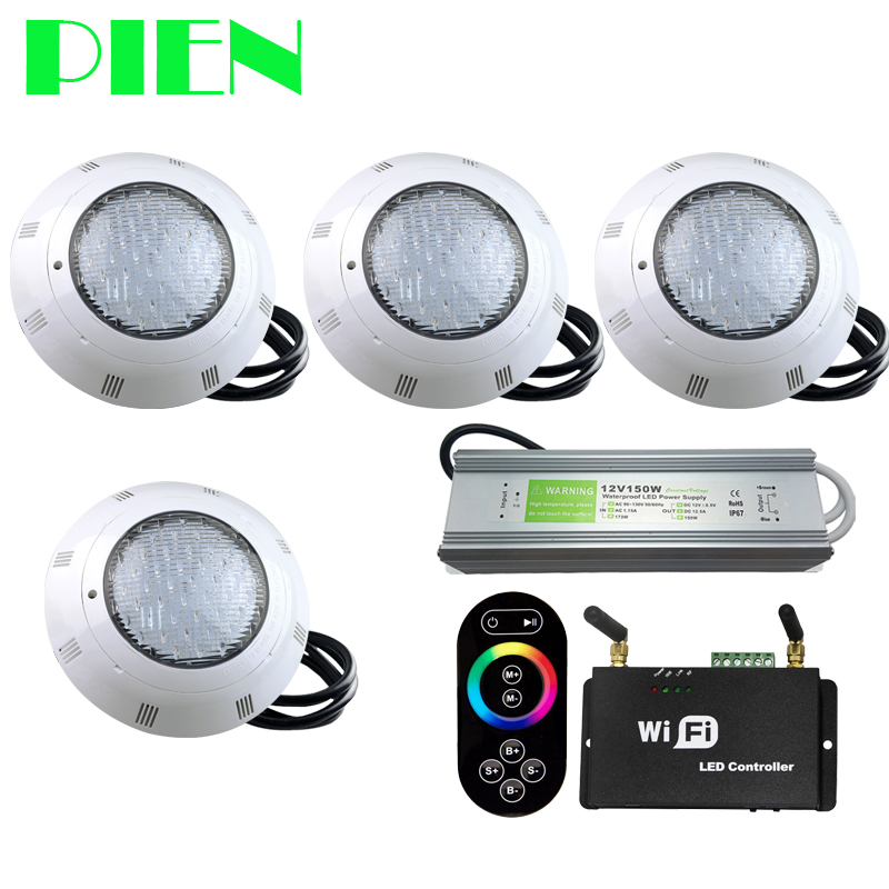 5pcs rgb dmx underwater smaller wall mounted led pool lights piscina for pools and spas dmx512 controller power supply dc24v WIFI Wireless RGB LED Pool lights Resin filled Par56 Underwater Luz Piscina IP68 12V 18W 42W with RF Remote Power supply 4pcs