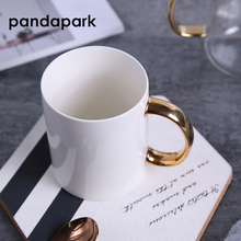 Pandapark New 2018 Brief White Ceramic Coffee Mug Plating Gold Handle Mugs Creative Milk Cup Tea Drink Breakfast Cups PPX050