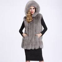 2018 new women's Winter Warm Vest Fake Fox Fur Fashion Hooded Thick Coats Formal Elegant Faux Fur Sleeveless Vests Female