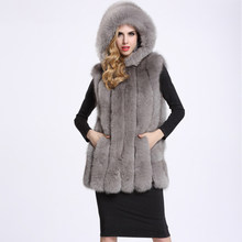 2018 new women's Winter Warm Vest Fake Fox Fur Fashion Hooded Thick Coats Formal Elegant Faux Fur Sleeveless Vests Female(China)