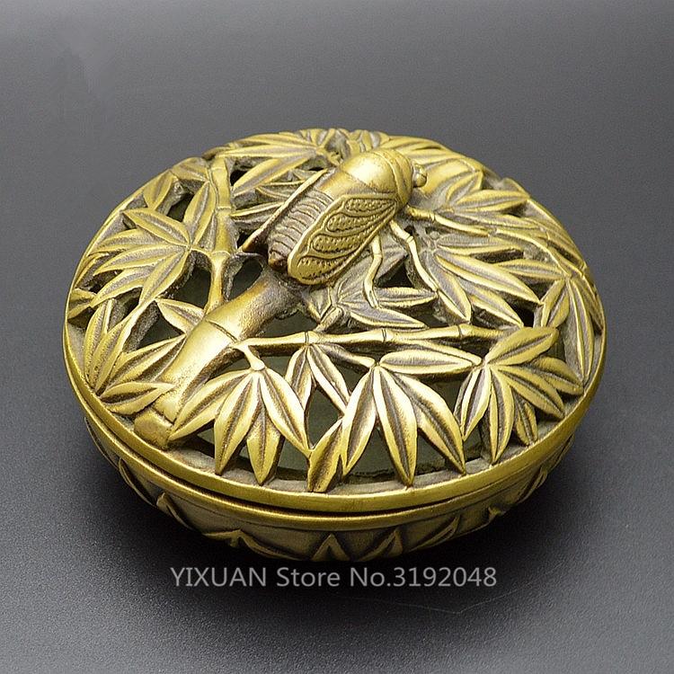TNUKK Antique bronze cuivre artisanat ameublement laiton encensoir brûleur ornements ameublement cigale.
