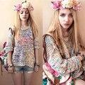 Casaco de outono e inverno doce Gentlewomen Topshop íris Vintage Jumper de verão mulheres camisola pulôver