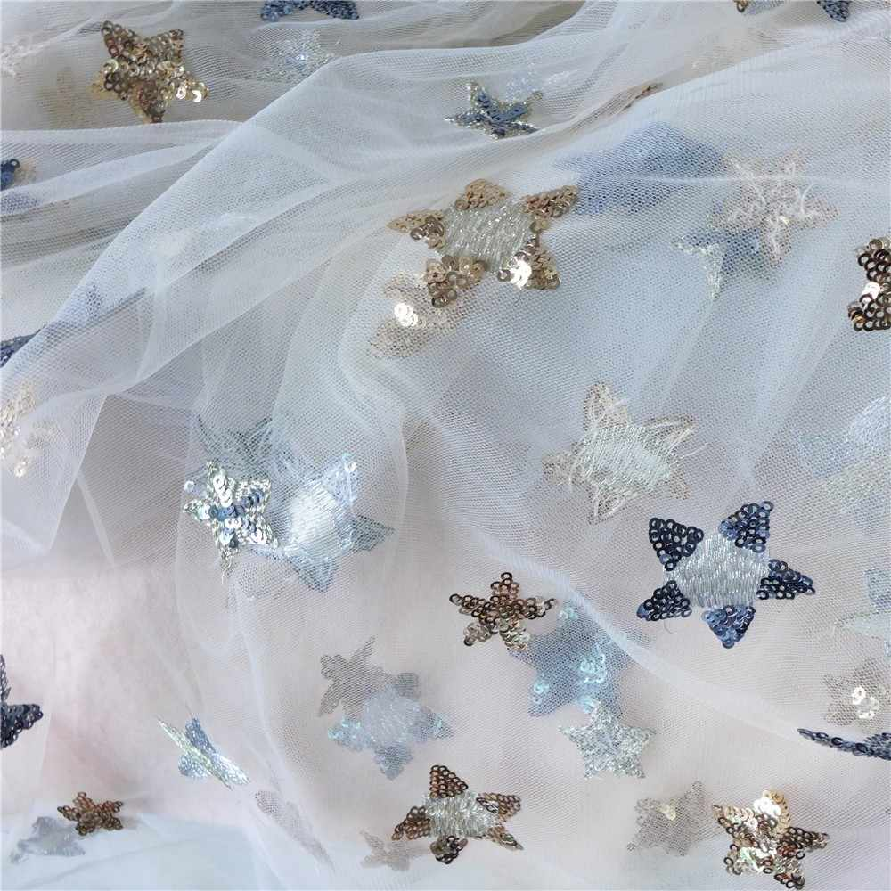 ... Beautiful Sequin Star Embroidery Print Lace Tulle Fabric For Bridal  Gown Dress In Champagne 74fc6e68d6ca