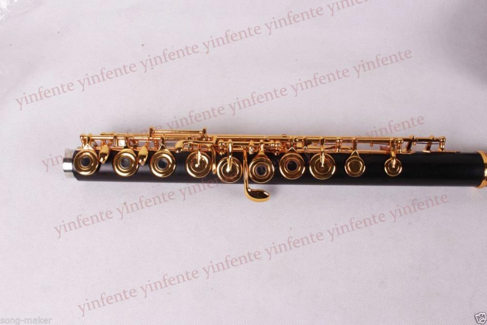 New flute 17 hole Open Gold Plated Key E key High quality ebony wood #5 new color 17 open hole purple flute e key case