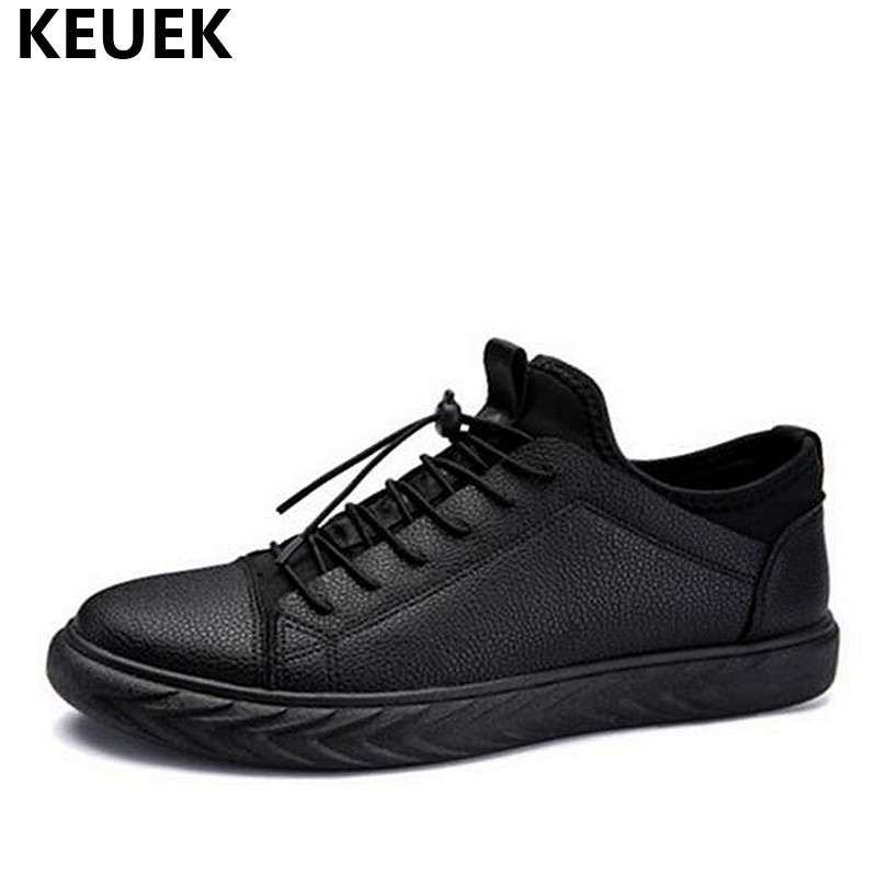 Spring Breathable Men Casual shoes Lace-Up soft leather Flats Fashion popular Male Sneakers Korean style Loafers 01B spring autumn fashion men high top shoes genuine leather breathable casual shoes male loafers youth sneakers flats 3a