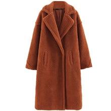 b new Brown Solid Pocket Open Front Casual Coat Women 2019 Autumn Fashion Warm Long Coat Office Ladies Elegant Outwear patch pocket open front fuzzy coat