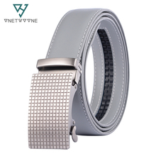 Famous Brand Belt Men Top Quality Genuine Luxury Leather Belts for Strap Male Metal Automatic Buckle 3.5cm Gray